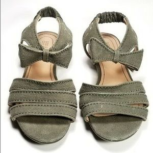 see by chloe flat strappy sandal w/ bow in olive